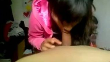 Young college girl giving hot blowjob session to her private teacher