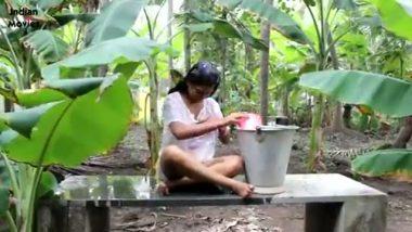 Bengaluru village maid outdoor bath captured by local guy